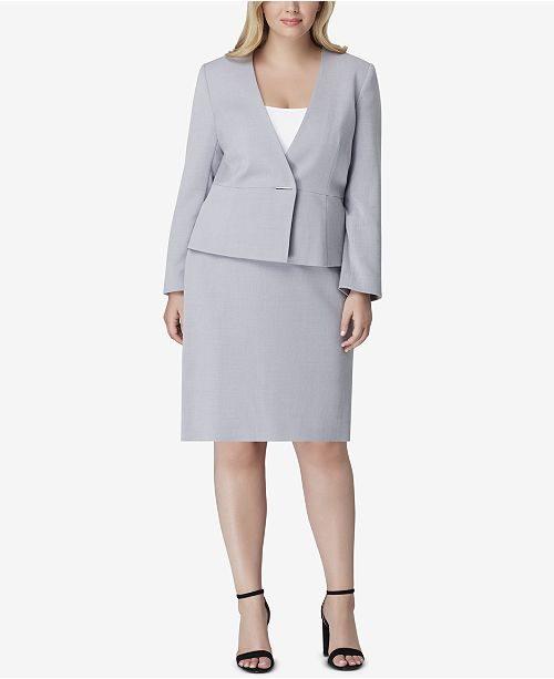 perfect quality Sales promotion compare price Tahari ASL Plus Size Collarless Skirt Suit & Reviews - Wear to ...