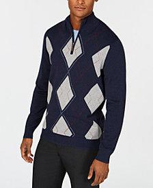 Club Room Men's Quarter-Zip Pima Argyle Sweater, Created for Macy's