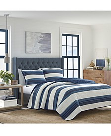 Briars Cotton Reversible 136-Thread Count Navy Full/Queen Quilt