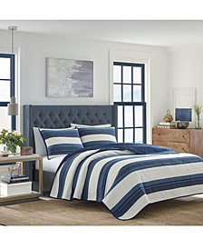 Nautica Briars Cotton Reversible 136-Thread Count Navy Full/Queen Quilt