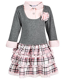 Blueberi Boulevard Little Girls Layered-Look Plaid Sweater Dress