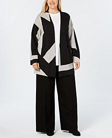 Eileen Fisher Plus Size Merino Wool Colorblocked Cardigan