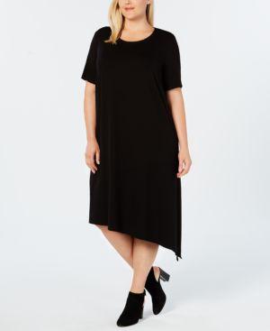 Plus Size Stretch Jersey Asymmetrical Knit Dress in Black