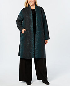 Eileen Fisher Wool Plus Size Kimono Coat