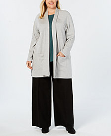 Eileen Fisher Plus Size Organic Cotton Kimono Cardigan
