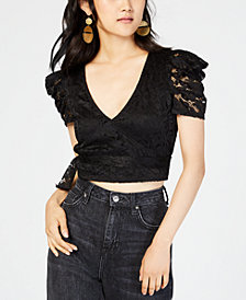 Material Girl Juniors' Lace Faux-Wrap Crop Top, Created for Macy's