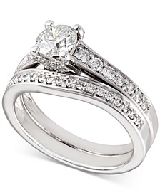 Certified Diamond Bridal Set (1-1/5 ct. t.w.) in 18k White Gold