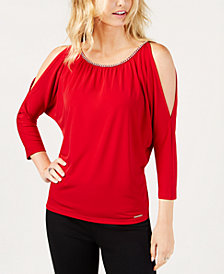 MICHAEL Michael Kors Embellished Cold-Shoulder Top, Created for Macy's