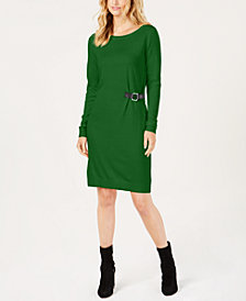 MICHAEL Michael Kors Buckle-Trim Sweater Dress, Created for Macy's