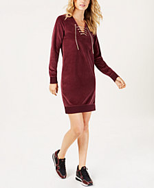 MICHAEL Michael Kors Lace-Up Velour Dress, In Regular & Petite Sizes