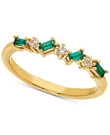Lab-Created Emerald (3/8 ct. t.w.) & White Sapphire Accent Ring in 14k Gold-Plated Sterling Silver (Also Available in Amethyst & Blue Topaz)
