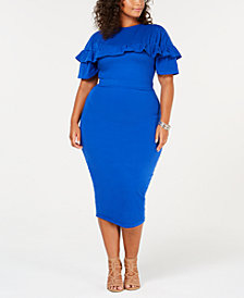 Rebdolls Plus Size  Ruffled Midi Dress from The Workshop at Macy's