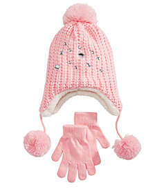 Berkshire Little & Big Girls 2-Pc. Embellished Hat & Gloves Set