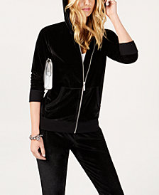 MICHAEL Michael Kors Velvet Zip-Front Hoodie, in Regular and Petite Sizes