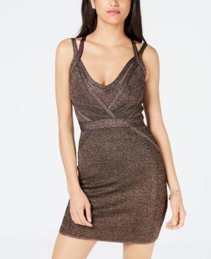 Mirage Metallic Strappy Body-Con Dress, Jet Black Multi