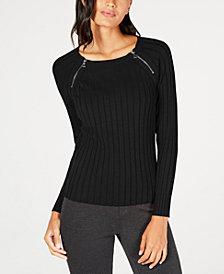 I.N.C. Zipper-Detail Raglan Sleeve Sweater, Created for Macy's