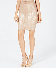 GUESS Snake-Embossed Metallic Skirt