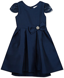 Rare Editions Little Girls Embellished Neck Satin Dress