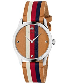 Gucci Men's Swiss G-Timeless Light Brown Leather Strap Watch 38mm