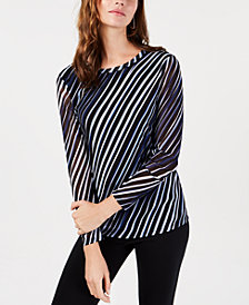 Alfani Printed Mesh Top, Created for Macy's