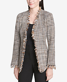 Calvin Klein Tweed Frayed-Trim Blazer