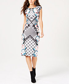 Thalia Sodi Printed Midi Sheath Dress, Created for Macy's