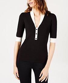Anne Klein Colorblocked Shawl-Collar Sweater