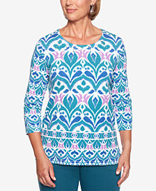 Alfred Dunner Petite Comfortable Situation Embellished Top