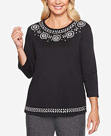 Alfred Dunner Petite Finishing Touches Beaded Top