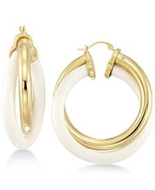 White Agate Double Hoop Earrings in 14k Gold over Resin Core
