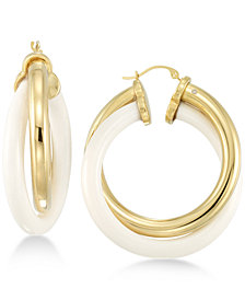 Signature Gold™ White Agate Double Hoop Earrings in 14k Gold over Resin Core