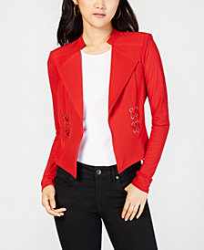 Material Girl Juniors' Illusion Lace-Up Blazer, Created for Macy's