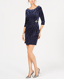 Alex Evenings Petite Velvet Embellished Dress
