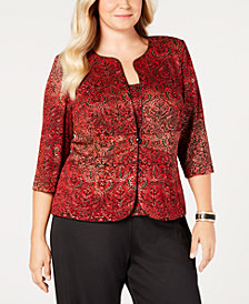 Alex Evenings Plus Size Metallic-Print Jacket & Top Set