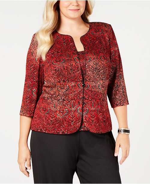 378e40bb21f Alex Evenings Plus Size Metallic-Print Jacket   Top Set - Jackets ...