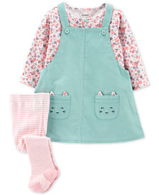 Carter's 3-Pc. Baby Girls Cotton Jumper, Shirt & Tights Set