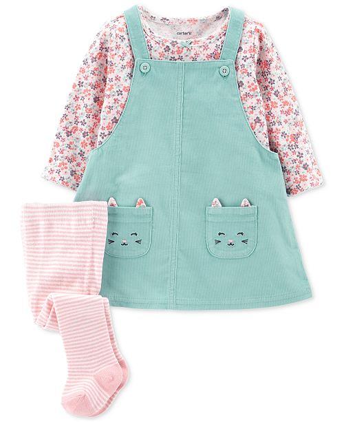 07a15df94 Carter's 3-Pc. Baby Girls Cotton Jumper, Shirt & Tights Set & Reviews ...