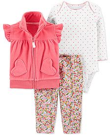 Carter's Baby Girls 3-Pc. Fleece Vest, Bodysuit & Leggings Set