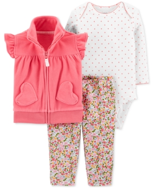Carters Baby Girls 3Pc Fleece Vest Bodysuit  Leggings Set