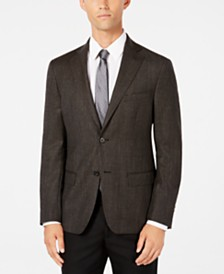 DKNY Men's Slim-Fit Chocolate/Blue Check Wool Sport Coat