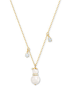 "Swarovski Gold-Tone Crystal & Imitation Pearl Snowman Pendant Necklace, 14-4/5"" + 3"" extender"