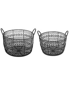 Madison Park Floret Woven Metal Baskets, Set of 2