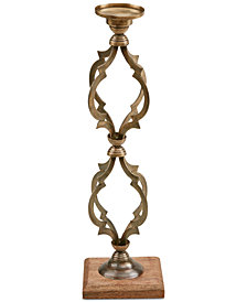 Madison Park Venezia Vintage Candle Holder on Wooden Base