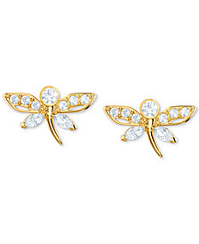 Swarovski Gold-Tone Crystal Dragonfly Stud Earrings