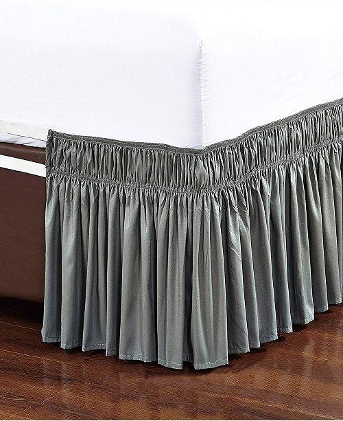 De Moocci Wrap Around Bed Skirt, Elastic Dust Ruffle Easy Fit