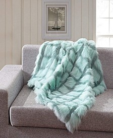 Faux Fur Throw Blanket, Super Soft Chevron Fuzzy Light Weight Luxurious Cozy - 50 x 60