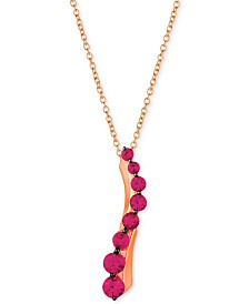 """Le Vian® Ruby (3/4 ct. t.w.) 18"""" Pendant Necklace in 14k Rose Gold"""