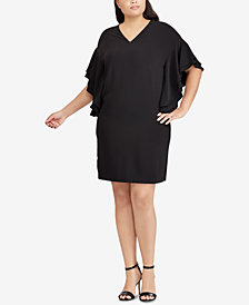 Lauren Ralph Lauren Plus Size Tiered Flutter-Sleeve Dress