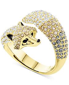 Swarovski Gold-Tone Pavé Fox Bypass Ring