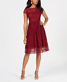 kensie Lace Midi Fit & Flare Dress